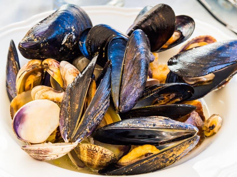 Soutè z milczkami i mussels zdjęcia stock