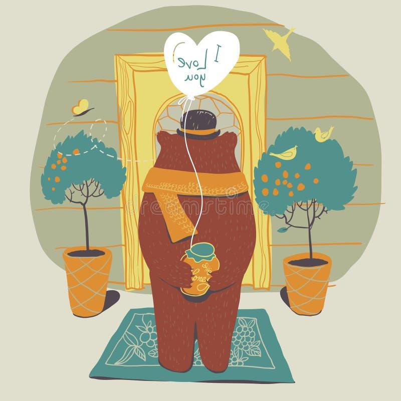 Soutenez dans l'amour sur le seuil à lui aimé. illustration libre de droits