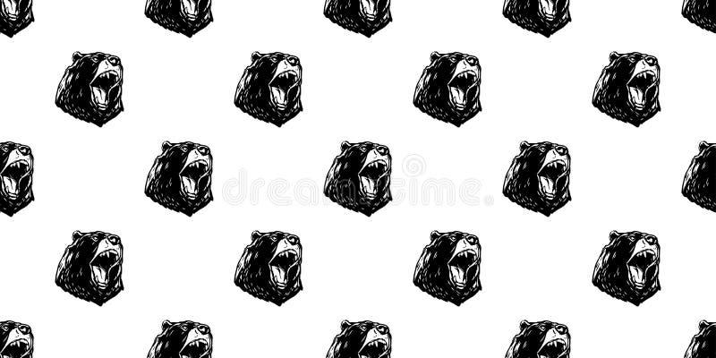 Soutenez le fond de papier peint d'isolement par vecteur fâché sans couture de cri perçant de nounours d'ours blanc de modèle illustration stock