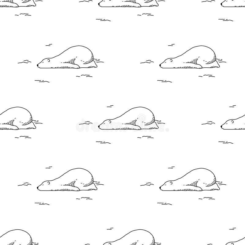 Soutenez le fond de papier peint de griffonnage de nounours de sommeil d'isolement par vecteur sans couture de panda d'ours blanc illustration de vecteur