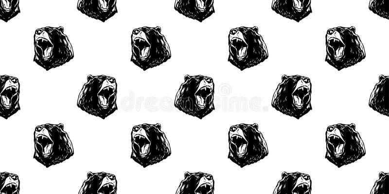Soutenez le fond fâché de papier peint de cri perçant d'ours blanc de modèle sans couture de vecteur d'isolement illustration de vecteur