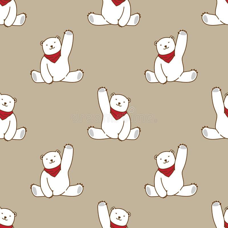 Soutenez le rouge de fond de papier peint d'isolement par écharpe bleue sans couture de vecteur d'ours blanc de modèle illustration libre de droits