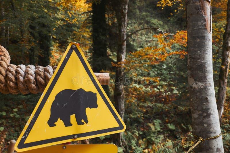 Soutenez le signe jaune de précaution au fond de forêt d'automne Concept de danger d'animal sauvage photographie stock