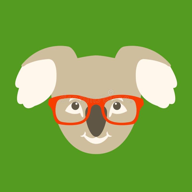 Soutenez le visage de koala dans l'avant plat de style d'illustration de vecteur en verre illustration libre de droits