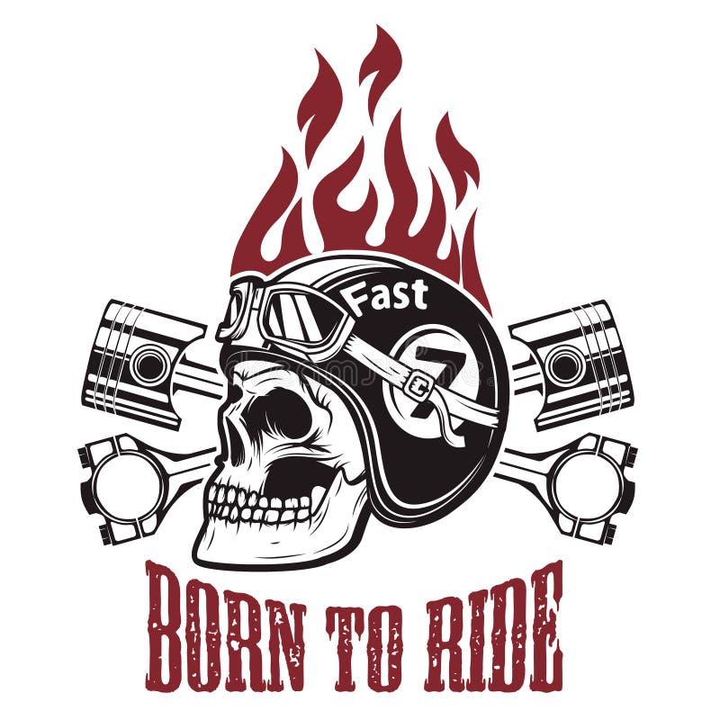 Soutenu pour monter Crâne dans le casque de moto avec les pistons croisés d illustration de vecteur