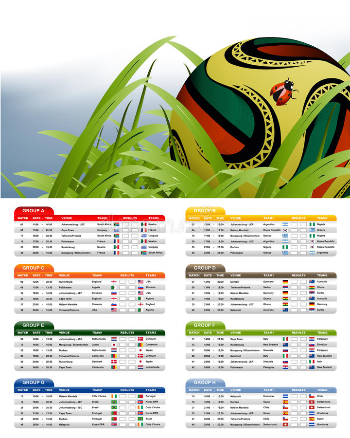 South Africa 2010 Match Schedule royalty free illustration