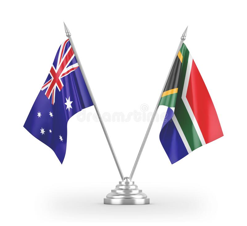 Free South Africa And Australia Table Flags Isolated On White 3D Rendering Royalty Free Stock Photography - 179012317