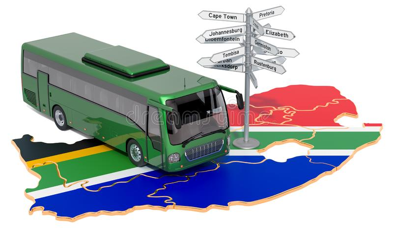 South Africa Bus Tours concept. 3D rendering. Isolated on white background royalty free illustration