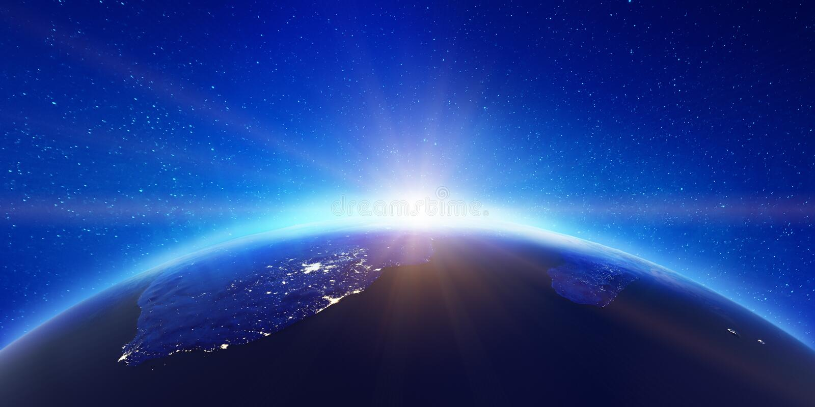 South Africa city lights sunrise. Elements of this image furnished by NASA. 3d rendering vector illustration
