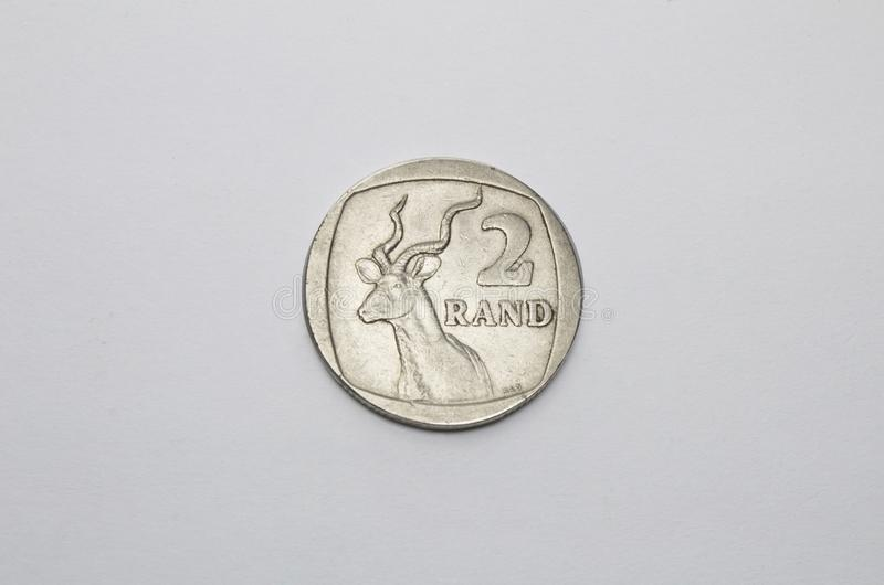 South africa coin in white. South africa currency coin in white royalty free stock photos