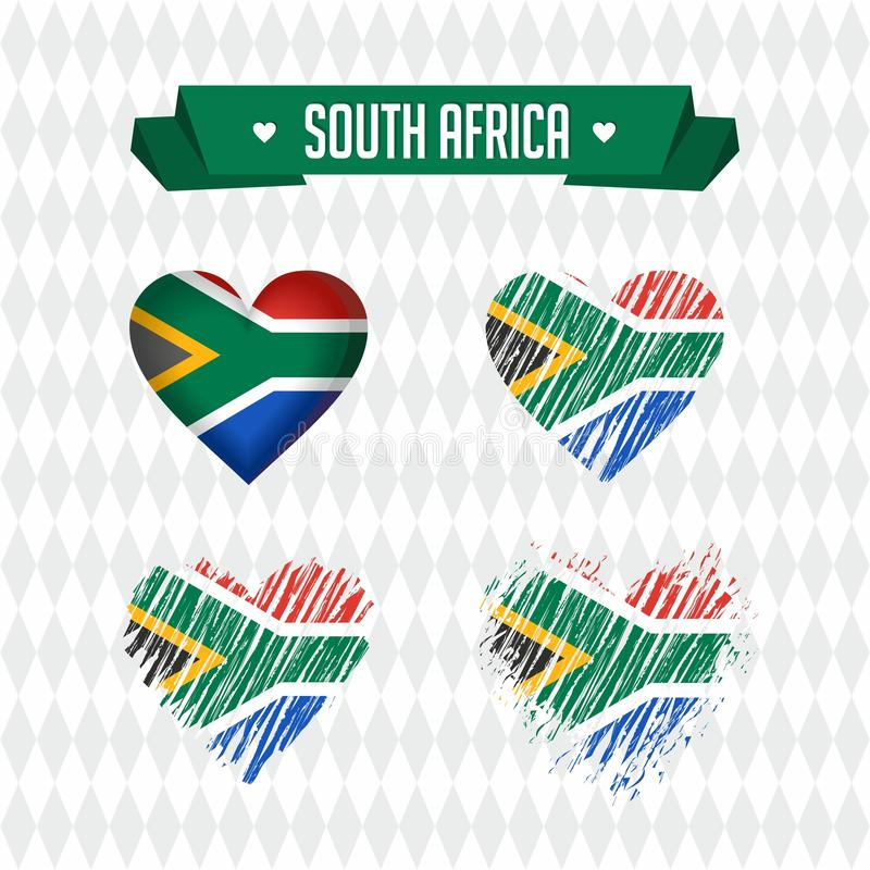 South Africa. Collection of four vector hearts with flag. Heart silhouette vector illustration