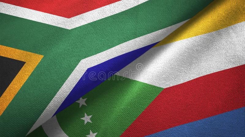South Africa and Comoros two flags textile cloth, fabric texture stock illustration