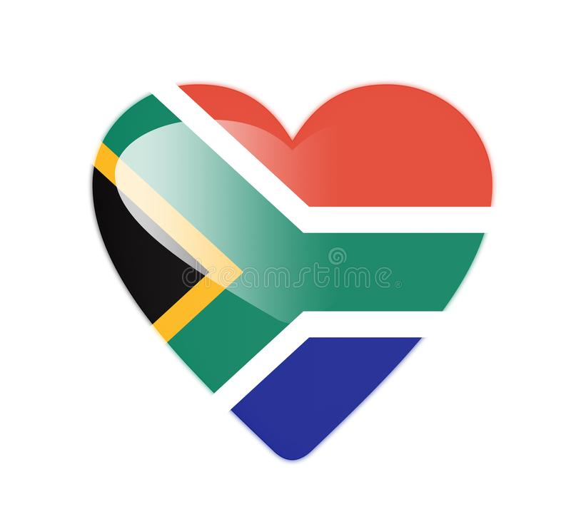 South Africa 3D heart shaped flag vector illustration