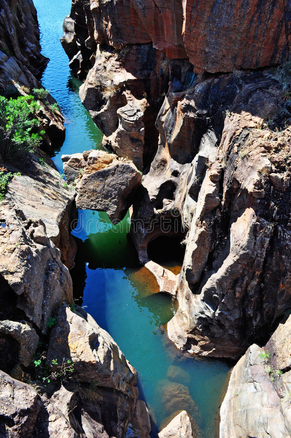 South Africa, East, Mpumalanga province, Bourke's Luck Potholes, Blyde River Canyon, Nature Reserve. South Africa, 01/10/2009: view of the potholes and royalty free stock photo