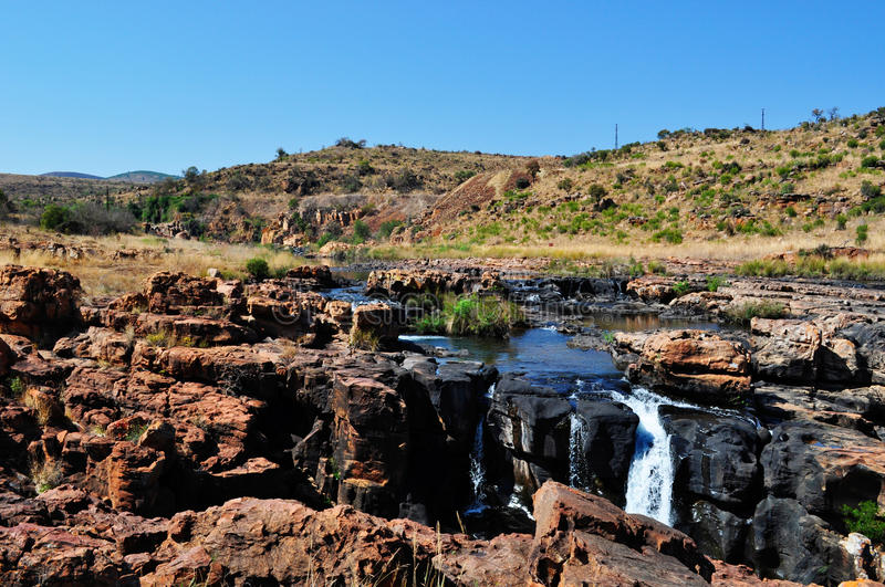 South Africa, East, Mpumalanga province, Bourke's Luck Potholes, Blyde River Canyon, Nature Reserve, waterfall. South Africa, 01/10/2009: a waterfall on the royalty free stock image