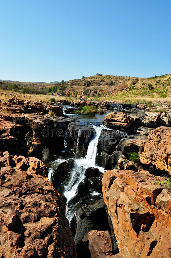 South Africa, East, Mpumalanga province, Bourke's Luck Potholes, Blyde River Canyon, Nature Reserve, waterfall. South Africa, 01/10/2009: a waterfall on the royalty free stock photo