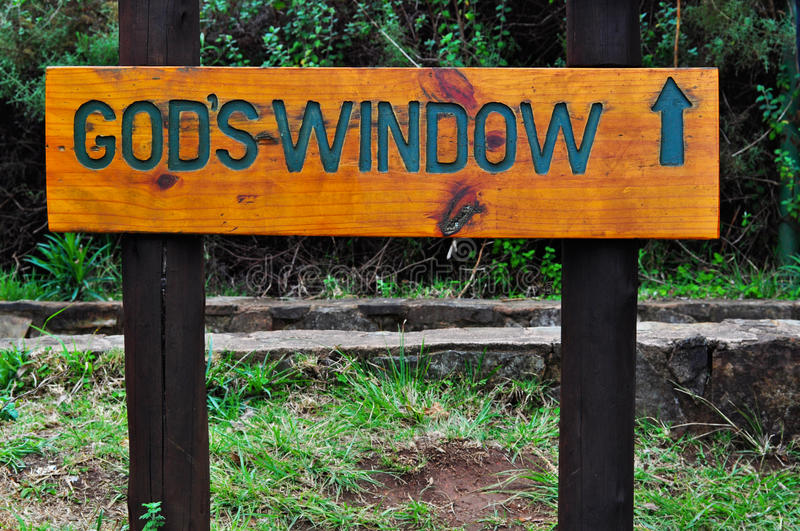 South Africa, East, Mpumalanga province, God`s Window, sign, Bourke`s Luck Potholes, Blyde River Canyon, Nature Reserve. South Africa, 01/10/2009: the wooden stock photos