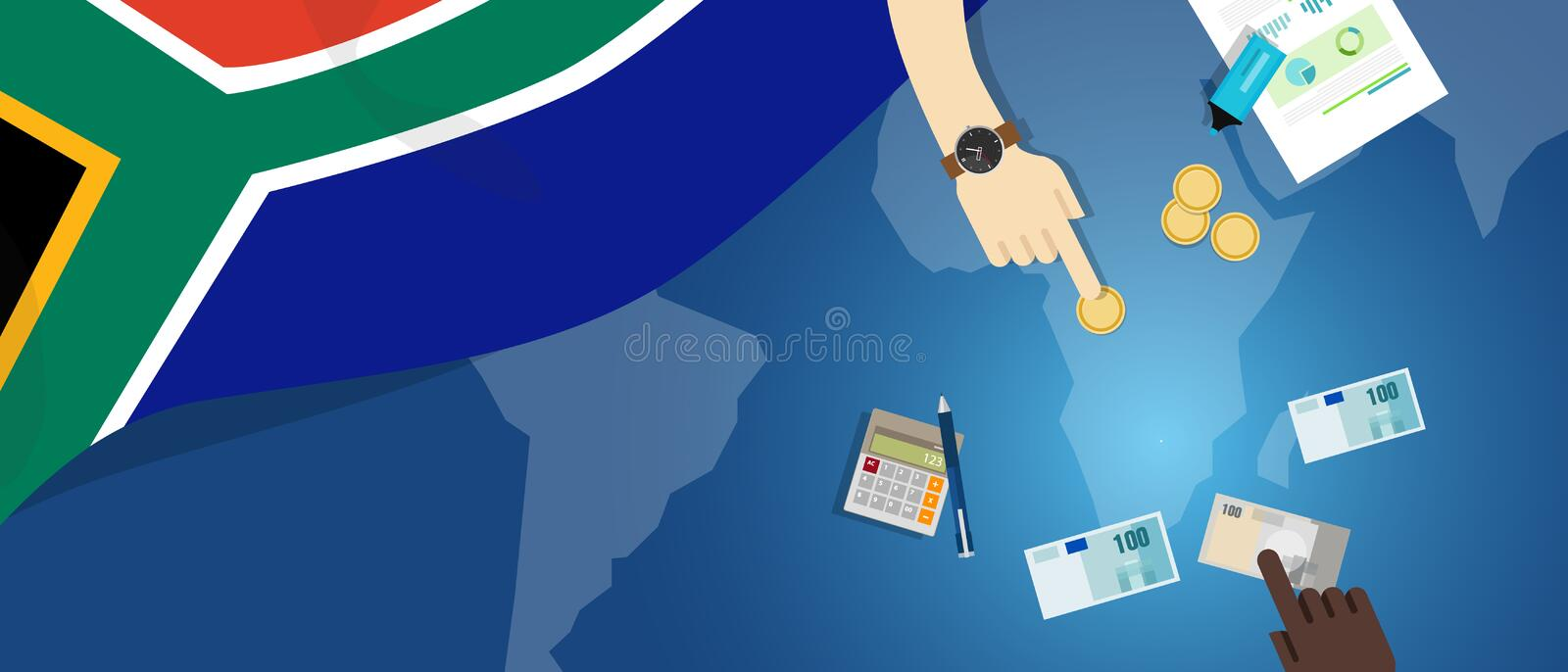 South Africa economy fiscal money trade concept illustration of financial banking budget with flag map and currency. Vector stock illustration