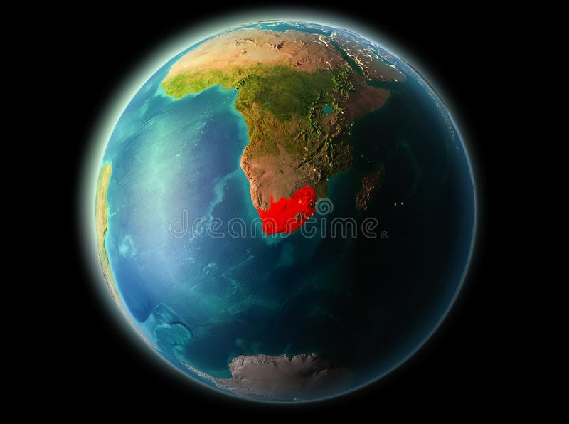 South Africa in the evening. South Africa from orbit of planet Earth at night with highly detailed surface textures. 3D illustration. Elements of this image vector illustration