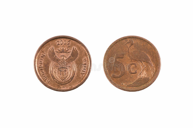 South Africa Five Cent Coin. A five cent coin from South Africa, currency called rand. Niugizimu Afrika inscribed, 2009 royalty free stock photo