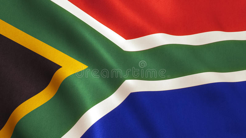 South Africa Flag. Background with fabric texture stock images