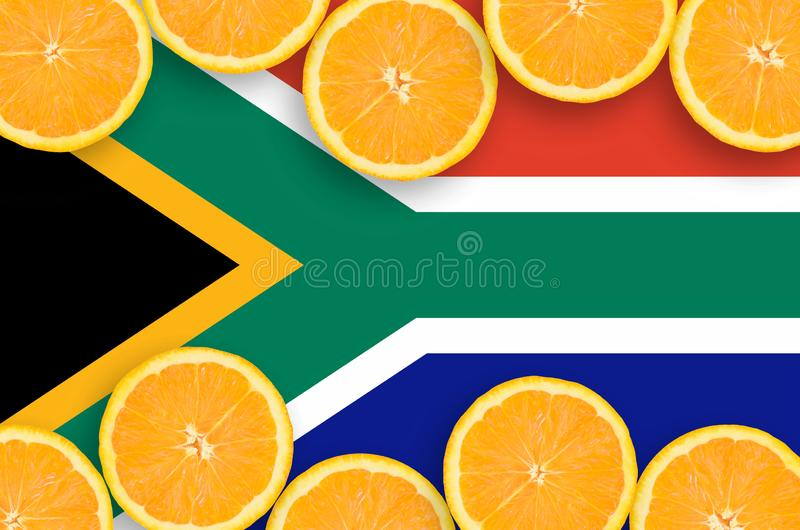South Africa flag in citrus fruit slices horizontal frame royalty free stock photography