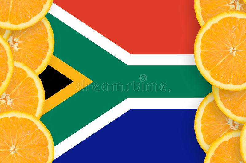South Africa flag in citrus fruit slices vertical frame royalty free stock photography