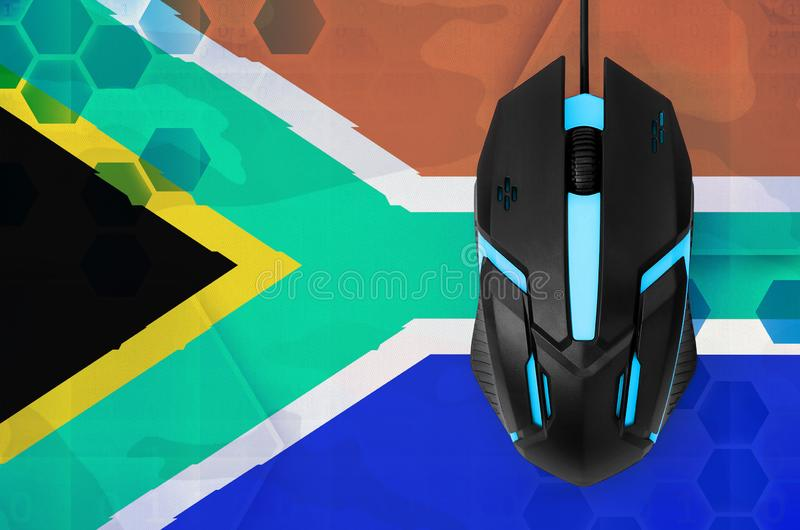 South Africa flag and computer mouse. Concept of country representing e-sports team royalty free stock image