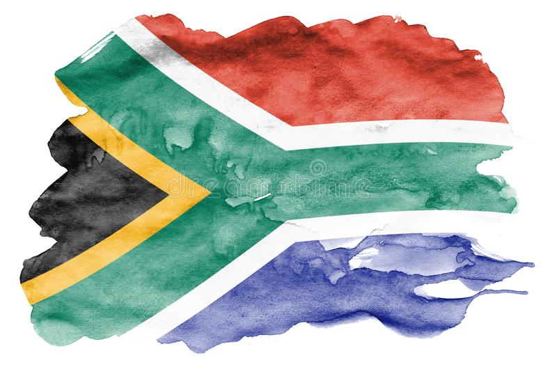 South Africa flag is depicted in liquid watercolor style isolated on white background. Careless paint shading with image of national flag. Independence Day vector illustration