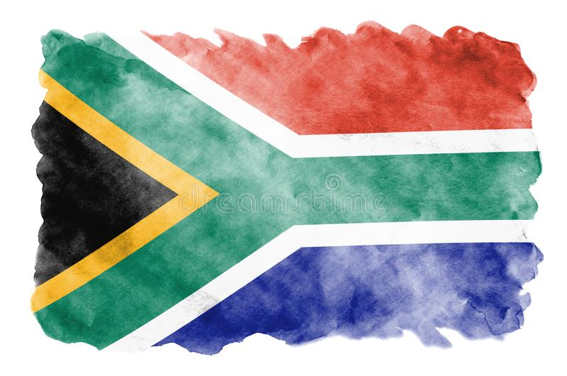South Africa flag is depicted in liquid watercolor style isolated on white background. Careless paint shading with image of national flag. Independence Day stock illustration