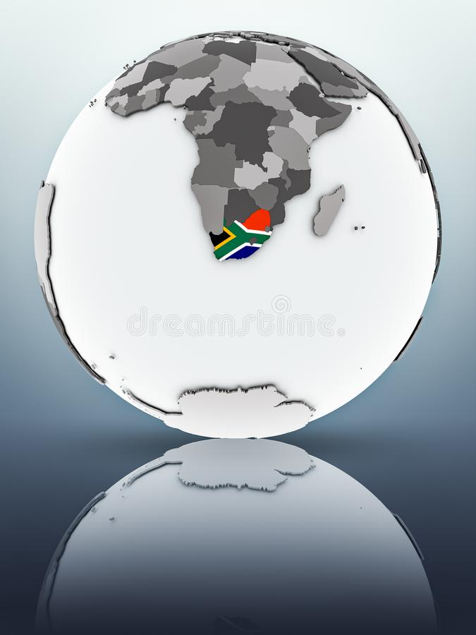 South Africa on globe. South Africa with flag on globe reflecting on surface. 3D illustration stock illustration