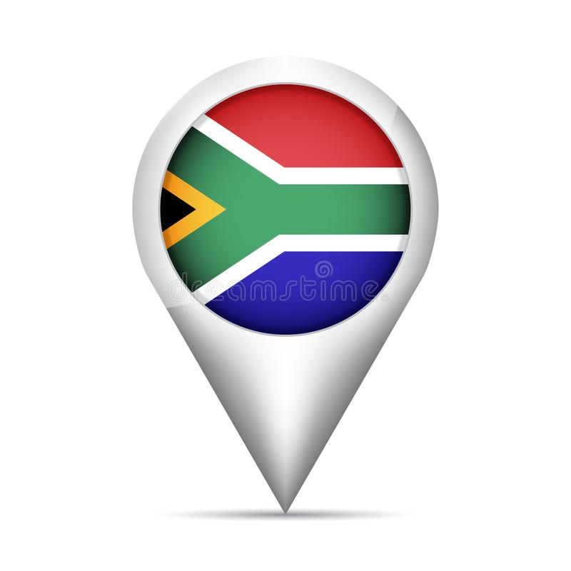 Free South Africa Flag Map Pointer With Shadow. Vector Illustration Royalty Free Stock Images - 100284169