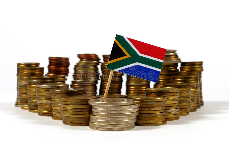 South Africa flag with stack of money coins. South Africa flag waving with stack of money coins stock photos