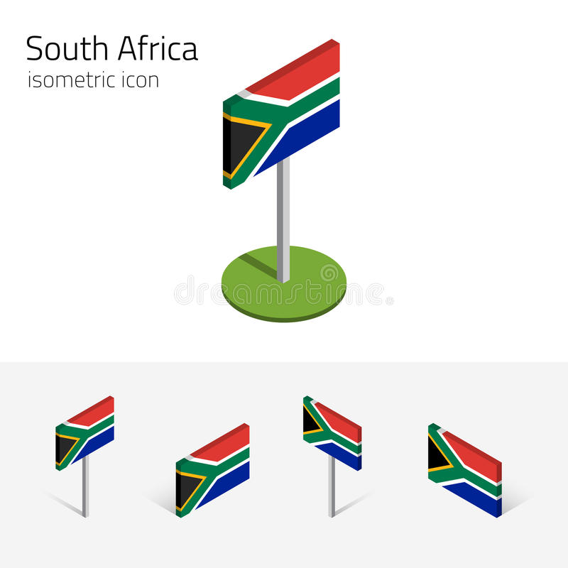South Africa flag, vector set of 3D isometric flat icons stock illustration