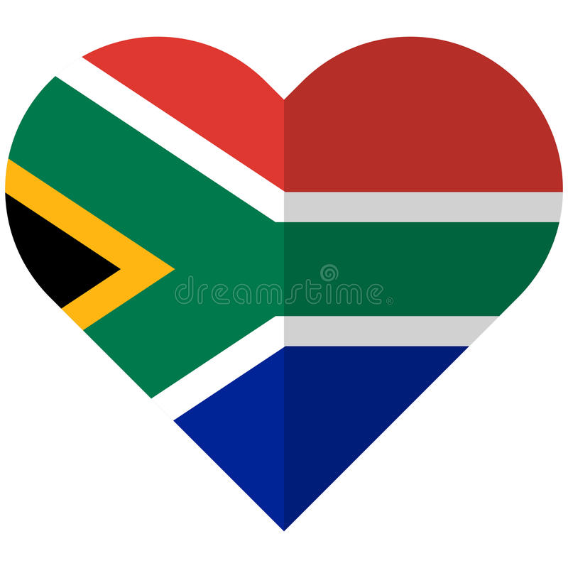 South Africa flat heart flag stock illustration