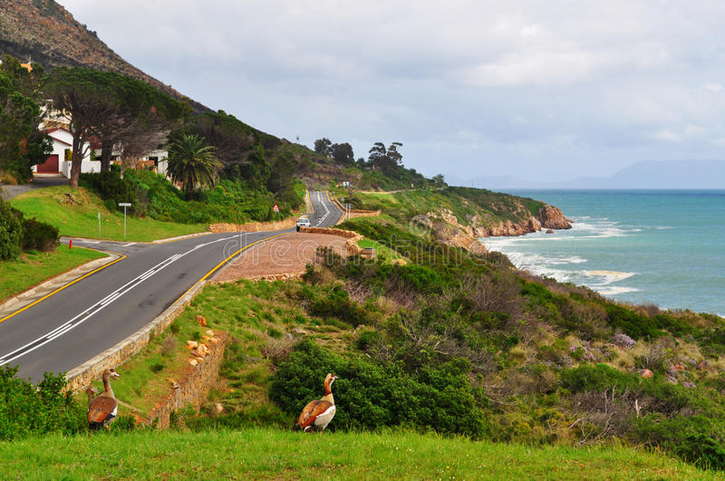 South Africa, Garden Route. South Africa, 25/09/2009: landscape and Atlantic Ocean seen from the N2, the famous Garden Route, a rich of verdant vegetation royalty free stock photo