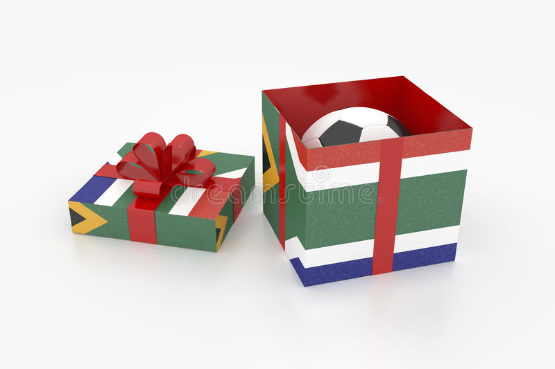 South Africa gift box with soccer ball stock illustration
