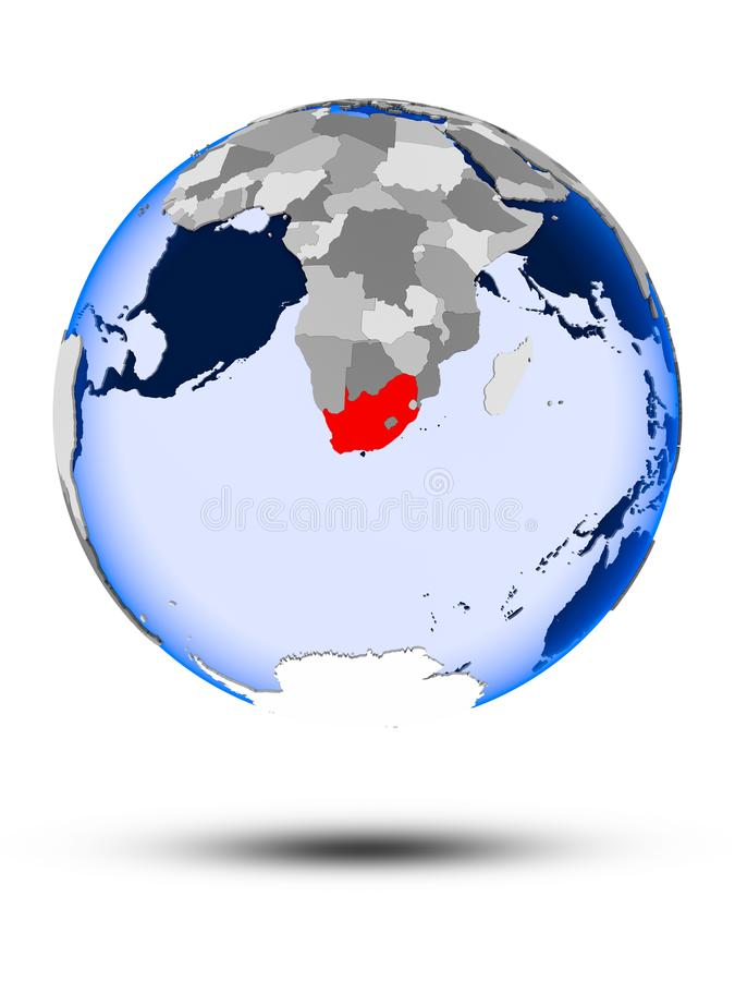 South Africa on globe. South Africa on political globe with shadow and translucent oceans isolated on white background. 3D illustration vector illustration