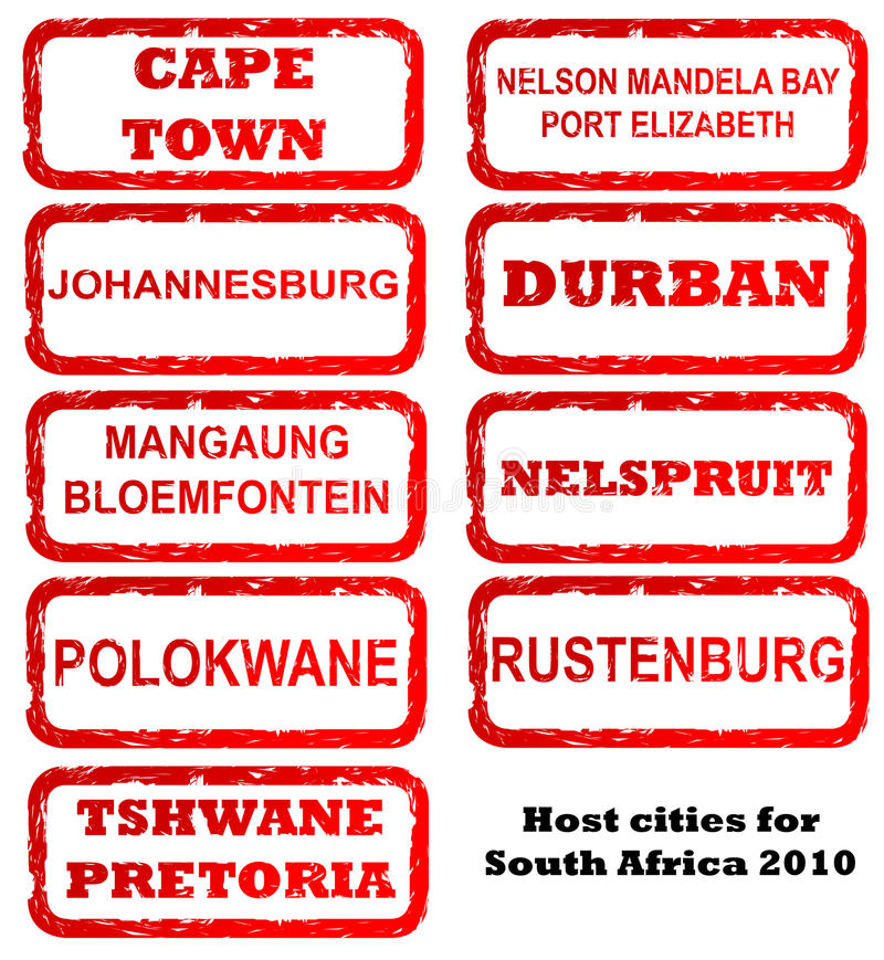 South Africa host city stamps. Stamps of all host cities and areas for 2010 football or soccer in South African, isolated on white background vector illustration