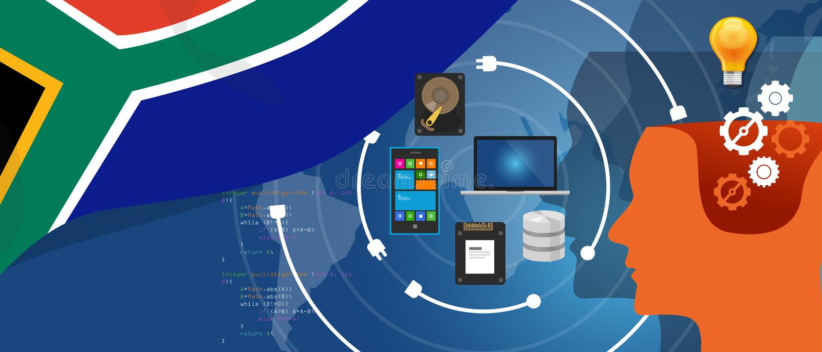 South Africa IT information technology digital infrastructure connecting business data via internet network using stock illustration