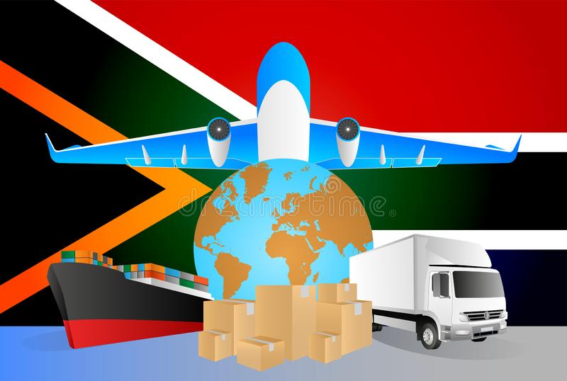 South Africa logistics concept illustration. National flag of South Africa from the back of globe, airplane, truck and cargo. Container ship vector illustration stock illustration