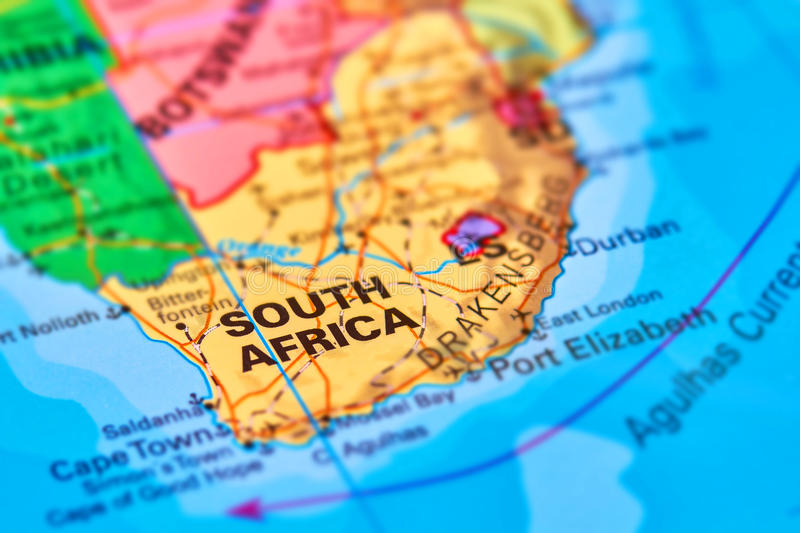 South Africa on the Map. South Africa Country on the World Map royalty free stock photos