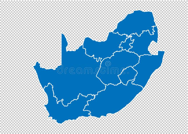 South Africa map - High detailed blue map with counties/regions/states of South Africa. South Africa map isolated on transparent. Background royalty free illustration