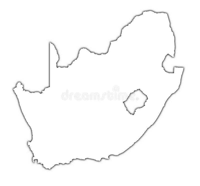 South Africa map with shadow stock illustration