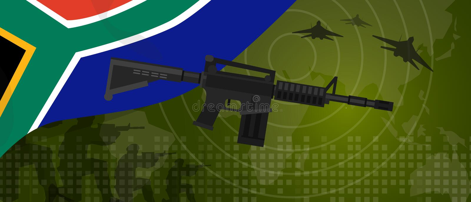 South Africa military power army defense industry war and fight country national celebration with gun soldier jet. Fighter and radar vector royalty free illustration