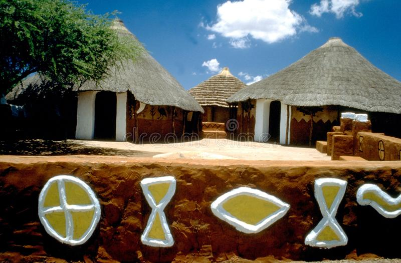 South Africa: Ndebele village with traditional colourfull Kraals stock images