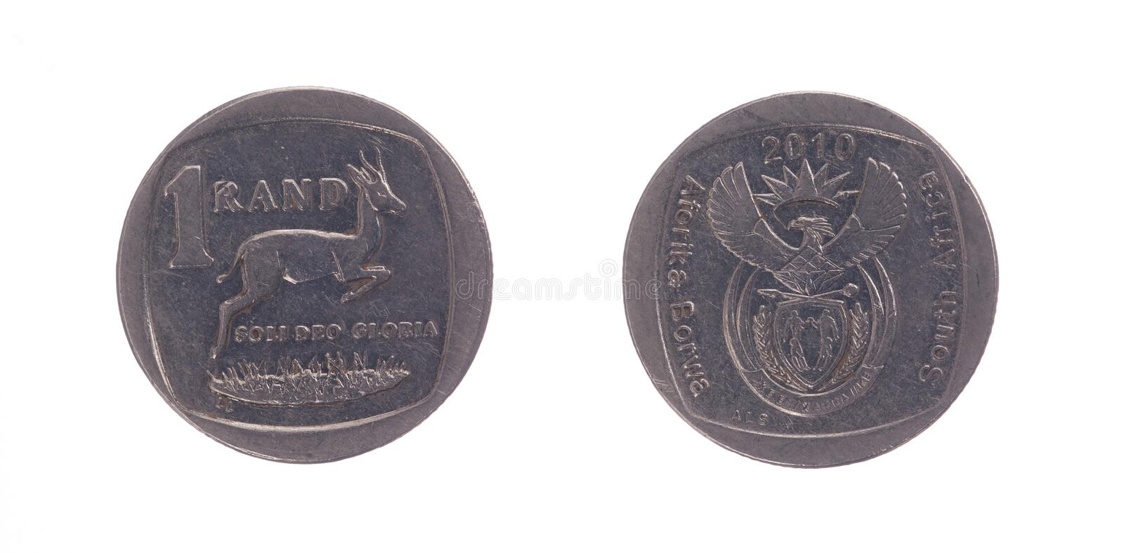 South Africa One Rand Coin. Isolated on white royalty free stock images