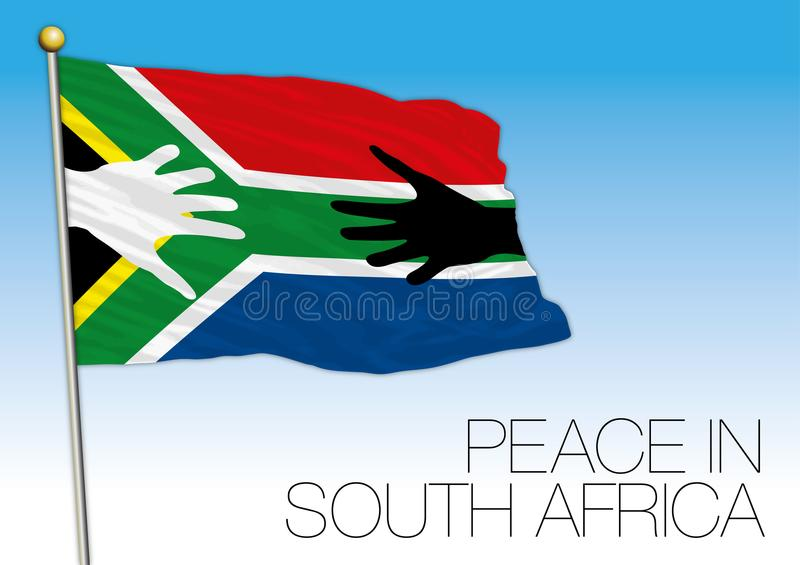 South Africa peace symbolic flag with hands vector illustration