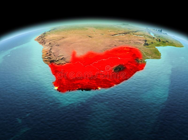 South Africa on planet Earth in space. Morning above South Africa highlighted in red on model of planet Earth in space. 3D illustration. Elements of this image stock photography
