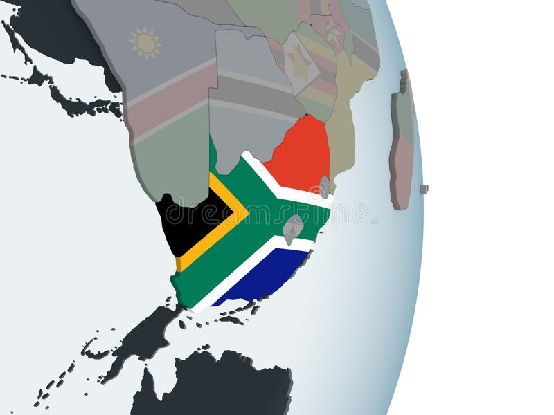 South Africa with flag on globe. South Africa on political globe with embedded flag. 3D illustration vector illustration